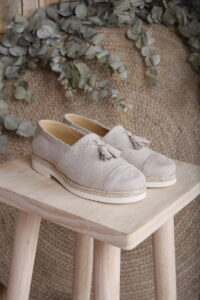 zapato de niño recycled suede y lino
